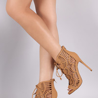 Geometric Cutout Scallop Lace-Up Stiletto Heel