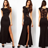 Red Black Sexy Party Club Dress Long Back Lace Women Prom Dresses Maxi Dress Plus Size S - XXXXL SD287