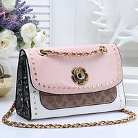 Coach Popular Women Retro Leather Rivet Flower Crossbody Satchel Shoulder Bag
