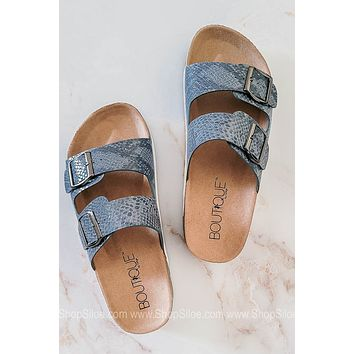 Beach Babe Double Strap Sandals | Blue Snake