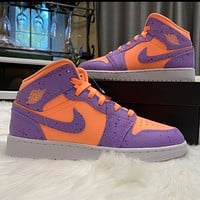 Air jordan 1 NIKE hot sale couple color block high-top sneakers Shoes