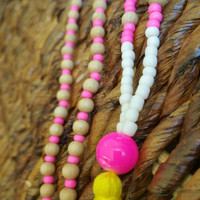 Long yellow and pink beaded tassel necklace