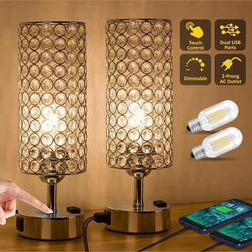 ZEEFO Touch Control Crystal Table Lamp, Modern Elegant Decor Nightstand Lamps Built-in Dual 5V/2.1A USB Ports & 2-Prong AC Outlet Dimmable Bedside USB Lamps Perfect for Bedroom,Office (Set of 2) Crystal Touch Usb Lamp With Ac Outlet