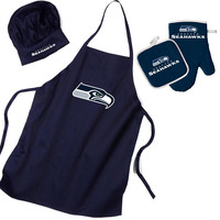 Seattle Seahawks NFL Barbeque Apron, Chef's Hat and Pot Holder Deluxe Set