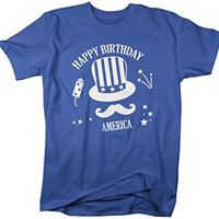 Shirts By Sarah Men's Patriotic 4th July T-shirt Happy Birthday America Hipster