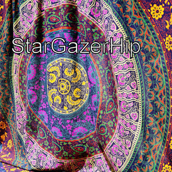 Tapestry Hand Loom Medallion Bed Sheet Bohemian Wall Hanging Hippie Tapestry Boho Table Cloth Floral Lavender