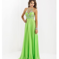 (PRE-ORDER) Blush 2014 Prom Dresses - Lime Beaded Halter Prom Gown