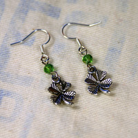 Silver Tone Shamrock Clover Earrings St. Patrick's Day Saint Patrick March Lucky Leprechaun Green Unique Handmade Jewelry by o2designs