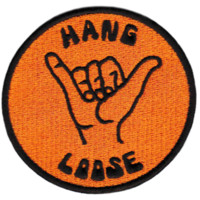 """Cool Vintage Style 70's 80's Surfing """"Hang Loose"""" Iron On Patch 8cm"""
