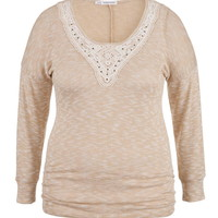 Plus Size - Oatmeal Dolman Top With
