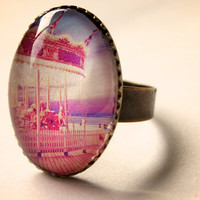 Carnival Carousel Glass Ring - Choose Brushed Silver or Brass Adjustable