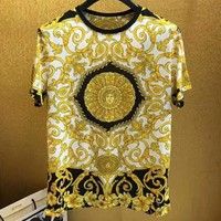 Versace 2019 new 3D HD printing men's loose round neck half sleeve shirt