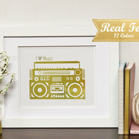 "Real Gold Foil Print With Frame (Optional) - Golden Boombox ""I Heart Music"" Music Decor, Gift For Teacher, Typography Print, Musical Art"