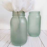 Beach Wedding Centerpiece - Sea Foam Mason Jars Set of 6 - Destination Wedding Decor - Mint Wedding - Beach House Decor - Candle Holder