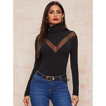 SHEIN High Neck Mesh Inert Fitted Tee