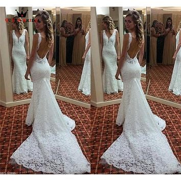 Mermaid V-neck Open Back Lace Long Train Sexy Vintage Formal Wedding Dresses 2018 Fashion Wedding Gowns Custom Made YB04