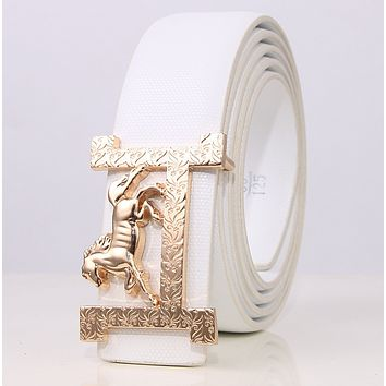 Hermes New Fashion H Horse Buckle Women Men Leisure Belt White
