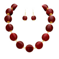 Burgundy & Gold Thread Ball Statement Necklace and Earring Set