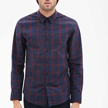 Windowpane Print Collared Shirt Navy/Red