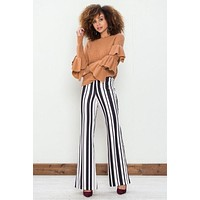 Striped Women's Pants - Black and White