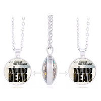 """The Walking Dead Daryl Double Sided Pendant Necklace  """"Fear The Living"""" Charm Necklace"""