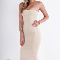 Spandex Tube Maxi Dress - Taupe @ LushFox.com :: Current Fashion Trends & Styles
