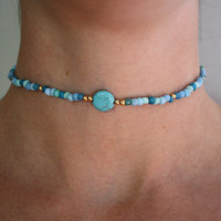 Turquoise & Gold Beaded Choker Necklace