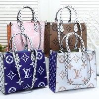 Hipgirls LV Louis vuitton sells fashionable ladies hand bill of lading shoulder bag with mixed colors and printed logo
