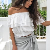 Sandy Morning White Off Shoulder Top