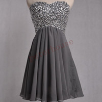Dark Gray Beaded Prom Dresses , Bridesmaid Dresses, Fashion Party Dresses, Homecoming Dresses, wedding Party Dresses, Cocktail Dresses