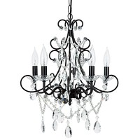 5 Light Classic Crystal Plug-In Chandelier (Black)