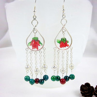 Valentines Day Chandelier Red Rose And Mixed Gemstone Earrings Fantasy Cottage Chic Jewelry