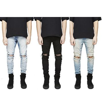 High Quality Mens Ripped male Biker Jeans Cotton Slim Fit Motorcycle damaged  trousers Men Vintage Distressed Denim  Pants