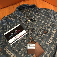LOUIS VUITTON x SUPREME DENIM TRUCKER JACKET S M SMALL 48 AUTHENTIC LV MEDIUM