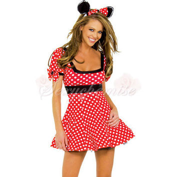 Charming Sexy Cat Mickey's Mistress Mouse Cartoon Halloween Costumes Red