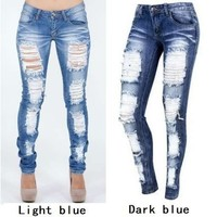 Distressed Jeans New 2017 Ladies Cotton Denim Pants Stretch Womens Ripped Skinny Denim Jeans For Female