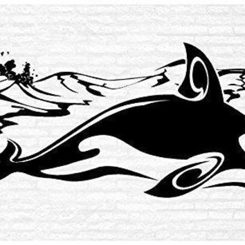Whale Ocean Orca Man Cave Animal Rustic Cabin Lodge Mountains Hunting Vinyl Wall Art Sticker Decal Graphic Home Decor