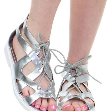 SILVER LACE UP SANDAL