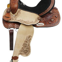 Saddles Tack Horse Supplies - ChickSaddlery.com Double T Barrel Style Saddle With Copper Starburst Conchos And Tooled Fenders