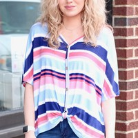 Navy Rainbow Stripe Front Tie Top - Size SMALL