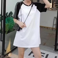 Adidas  Couple  Fashion Casual  Multicolor Simple Middle Sleeve  T-shirt Skirt