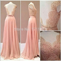 Pink Lace Chiffon Prom Dresses Backless A Line Plus Size Women Wedding Party Dress 2015 Hot Selling Cheap Long Evening Gown