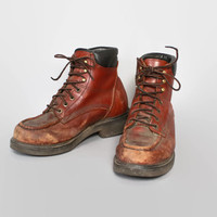 Vintage 80s BOOTS / 1980s Rugged Brown Leather RED WINGS Chukka Work Boots Womens 9 Mens 7