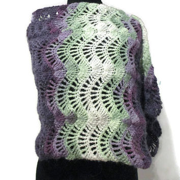 Lace crochet wrap, lacy scarf, Purple green and white wrap