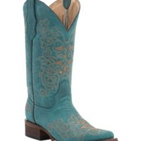 Corral Circle G Women's Turquoise with Sand Embroidery Square Toe Western Boots