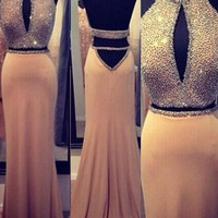2016 Fashionable Two Piece Long Prom Dresses Halter Beading Sexy Backless Mermaid Evening Gowns Party Dress vestido de festa