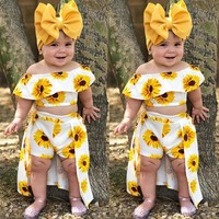 3PCS Kids Baby Girl Sunflower Crop Tops Shorts Dress Outfits Clothes Summer 1-6Y