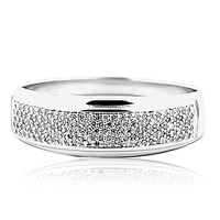 Diamond Wedding Band Mens 7mm Wide Solid Back Comfort Fit Sterling Silver Ring  (1/4 cttw)