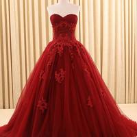 free shipping   gorgous  strapless sweetheart dard red burgundy prom dresses long  ball gowns 2016  new style custom make