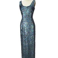 60's Blue Sequin Evening Gown-1960s Vintage Old Hollywood Gowns
